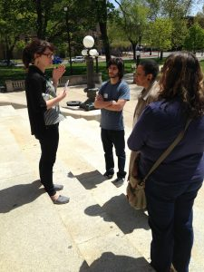 Rutgers-Camden graduate student Mikaela began her tour on the steps of the Cooper Street Library.  (Photo: Charlene Mires)