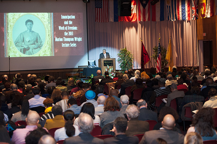 Price addresses the 2013 annual Marion Thompson Wright Lecture. Photograph by Fred Stucker, Rutgers Newark.