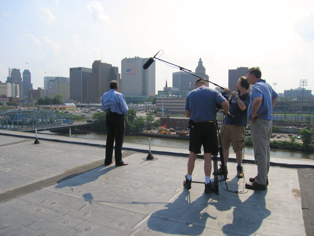 On the set of the 2006 documentary Once and Future Newark produced by Rutgers-Newark and featuring Price lead ing a tour of places significant in the city's social and cultura l history. Photograph Nora Luongo, courtesy Rutgers Newark.