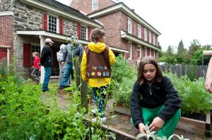Local Girl Scouts explore what's new in the Whitall House gardens. Photograph by Chase Heilman, 2012; courtesy The Crossroads of the American Revolution.