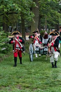 Military reenactments and encampments are enormously popular at Red Bank. Photograph by Chase Heilman, 2012; courtesy of The Crossroads the American Revolution.