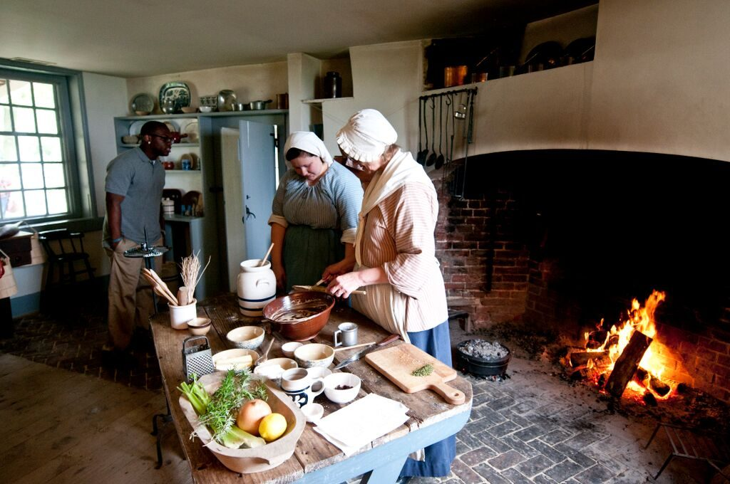 The Whitall House offers hearth cooking demonstrations throughout the year using food grown in the house gardens. Photograph by Chase Heilman, 2012; courtesy The Crossroads of the American Revolution.