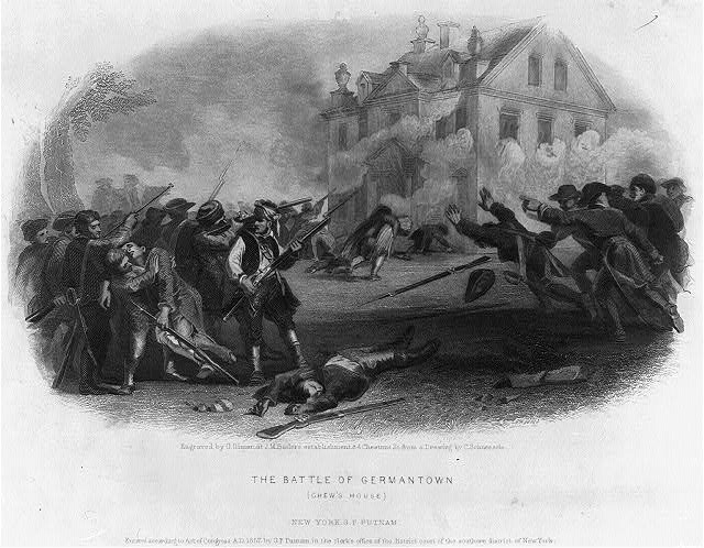 Black and White image depicting the Battle of Germantown